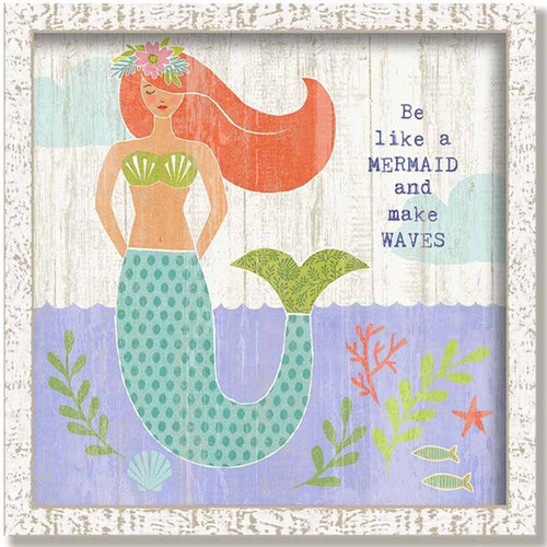 Red Horse Signs, Be Like a Mermaid Framed, vintage wooden sign of a red-haired mermaid in the deep blue sea