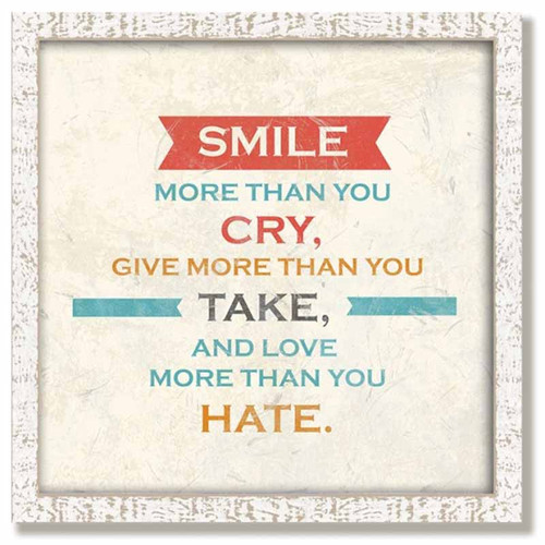 Red Horse Signs, Smile Framed, vintage wooden art, reminds us all to smile more than you cry