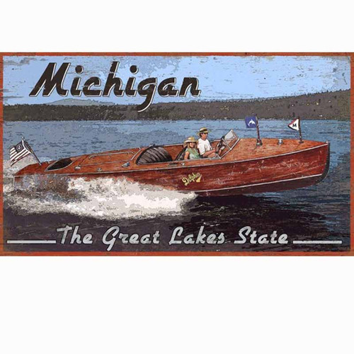 Red Horse Signs, Classic Boat, vintage wooden sign, Michigan, the Great Lakes State