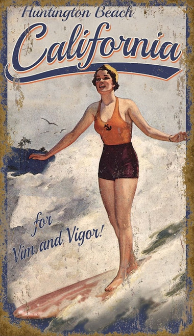 Red Horse Signs, California Surfer vintage poster on wooden board, Girl surfing the waves at Huntington Beach in vintage blue and red swimsuit.