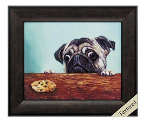 Propac Images, Dilemma.  The struggle is REAL for all of us little Pug......we get it!! Framed in a deep brown moulding.