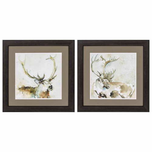 Propac Images, Emerging Standing framed art under glass, a set of two prints, elk heads with full antlers.
