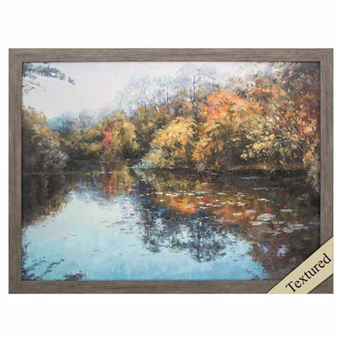 Propac Images, Waters Beauty, framed art print, the lake at fall is glorious with trees of red and gold along the banks.