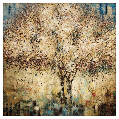 Propac Images, Whispering Tree Canvas, art print, colors of gold, brown, black and blue, a pointillist's dream of a golden tree