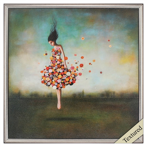 Propac Images, Boundlessness in Bloom, framed art print, a surreal vision of a girl in a dress of flowers floating over the ground