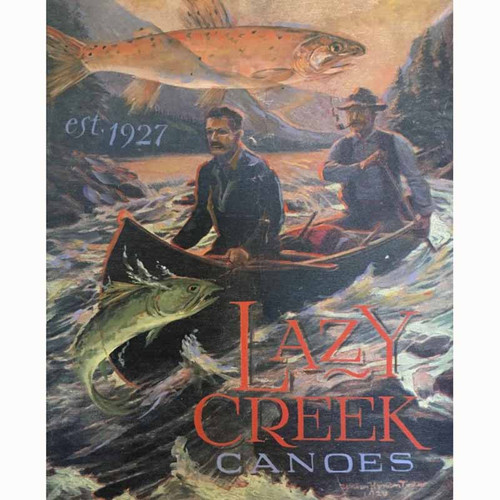 Red Horse Signs, Lazy Creek Canoes wooden vintage sign, canoe and trout