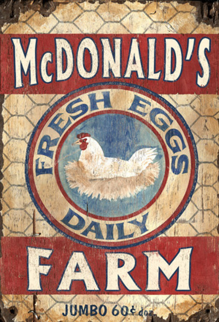 Red Horse Signs, Egg Farm, vintage wooden sign, roosting hen, McDonald's Farm, fresh eggs daily