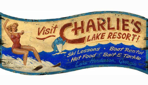 Red Horse Signs, Waterskiing, wooden vintage poster, girl in red swimsuit water skis at Charlie's Lake Resort