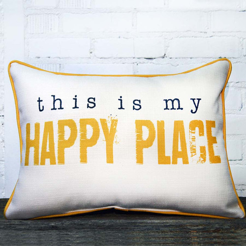This is My Happy Place Throw Pillow, The Little Birdie, measures 21 by 13 inches, get away to Robyns Lake House relax and have fun, truly a happy place