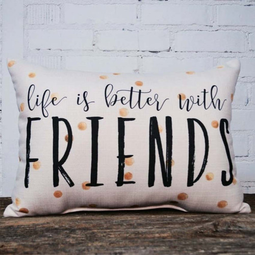 Life is better with friends pillow, The Little Birdie, rectangular pillow with splashes of yellow color.