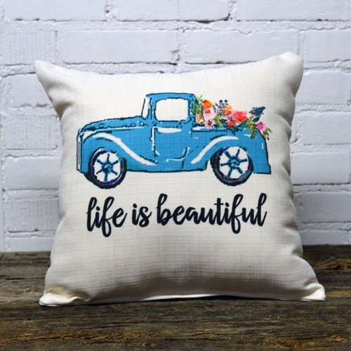 The Little Birdie Company, Life is Beautiful, throw pillow, Blue Pickup Truck with a bed of flowers