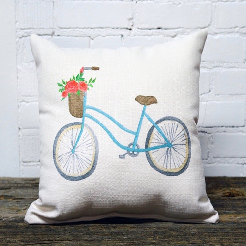 The Little Birdie, Bicycle Pillow.  This fun pillow adds a pop of color without overwhelming any decor. So hope on your cruiser and come on down to Robyns Lake House for a fun adventure