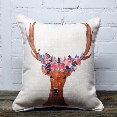 The Little Birdie Company, Flower Crown Deer Pillow. This bright colored flower crown deer pillow is whimsical and fun to add to any space.  At Robyns Lake House it is a perfect addition to any bedroom or living area.
