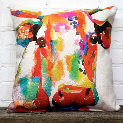 The Little Birdie Company, Colorful Cow Pillow.  Bring your room to life with this colorful fun cow pillow.  We will be having fun at Robyns Lake House this summer until the cows come home.
