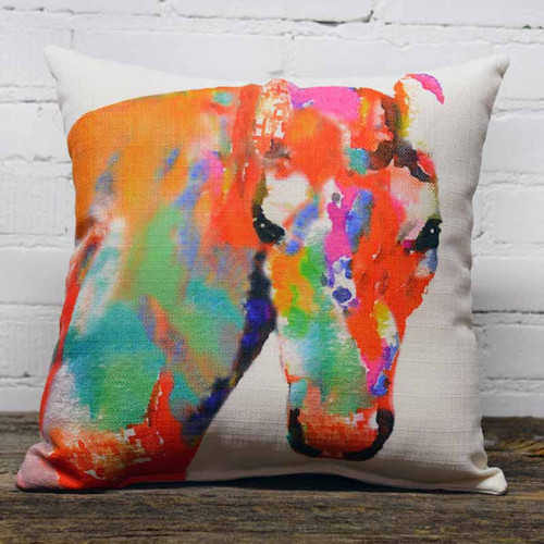 Colorful Horse head, throw pillow, the little birdie