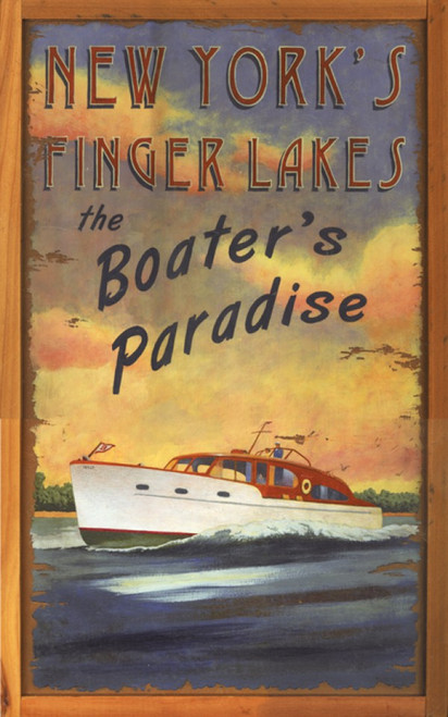 Red Horse Signs, Boaters Paradise, vintage wood sign, classic wood motor boat on New York's Finger Lakes