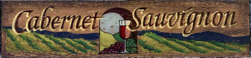 Red Horse Signs, Cabernet, vintage wood art, a glass of Cabernet Sauvignon, against a vineyard background