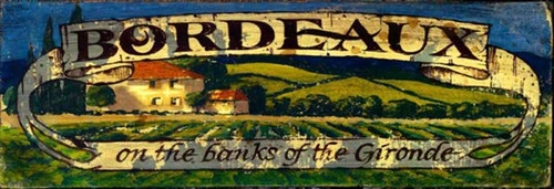 Red Horse Signs, Bordeaux Vineyard, vintage poster art on wood,  farm scene of the French landscape, a house and vineyard