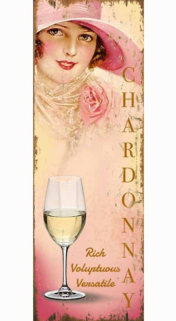 Red Horse Signs, Miss Chardonnay, vintage poster art on wood,  Vintage image of a lady in a pink hat holding a glass of Chardonnay wine.