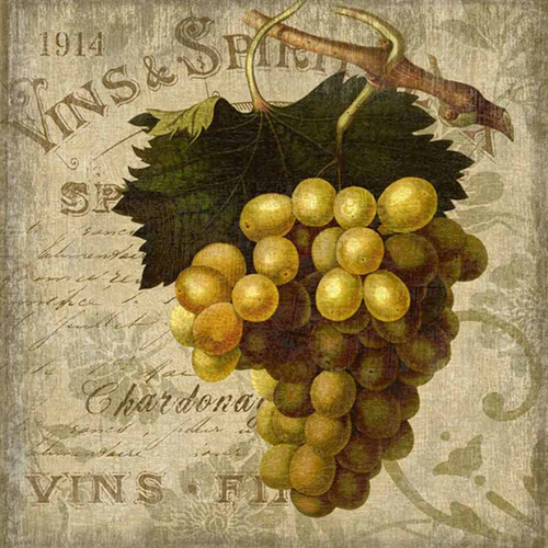 Red Horse Signs, Vintage Wine 1, vintage French poster art on wood,  bunch of white grapes, on a soft taupe palette.