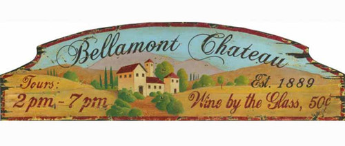Red Horse Signs, Bellamont Chateau, vintage art on wood,  view of Provence, France. the hills and buildings