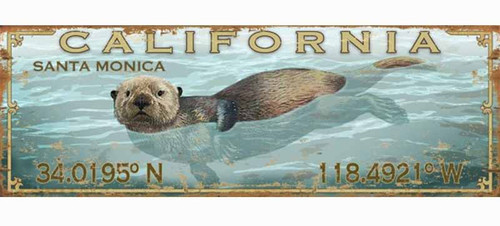 Red Horse Signs, Latitude Sea Otter, vintage art on wood,  otter swimming off the California coast