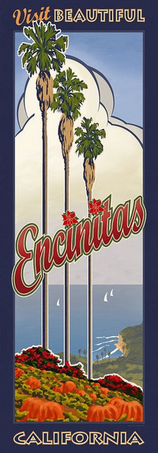 Encinitas, Red Horse Signs, view of the California coast, palm trees, clouds and sky, vintage art on wood