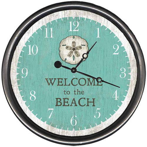 Sand Dollar Welcome to the Beach, clock, Red Horse Signs, Rustic metal ring frames the light blue background and sand dollar face
