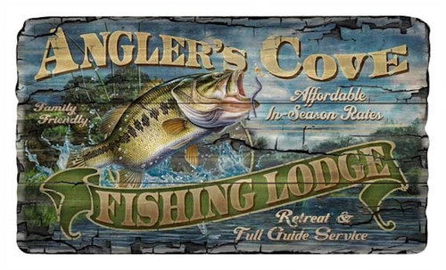 Red Horse Signs. Angler's Cove. Come on Out to the Family Friendly Angler's Cove Lodge. A special retreat for an affordable price.  A 15x26 vintage looking sign printed directly to a distressed hardwood panel with knots and other imperfections giving each an antique look and feel.