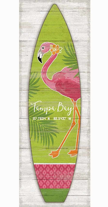Red Horse Sings, Surfboard Vertical Flamingo, vintage art on wood, pink flamingo on green background with palm highlights