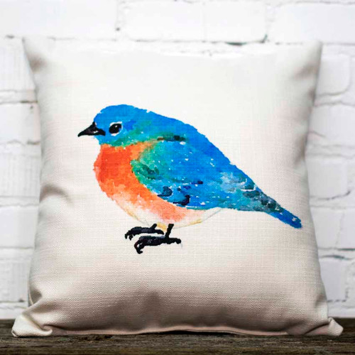 The Little Birdie, Blue Birdie throw pillow, blue bird with red breast