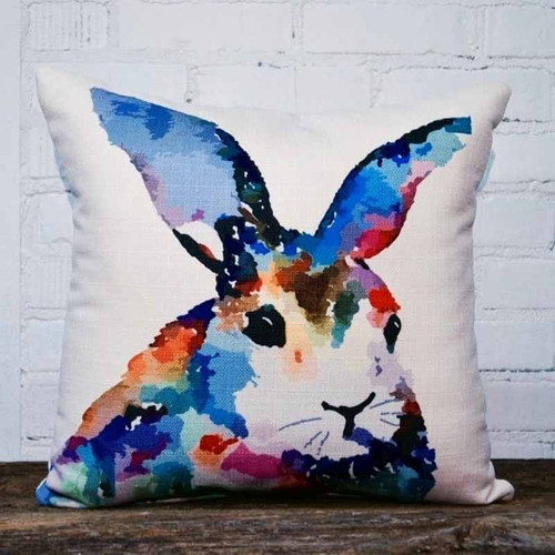 The Little Birdie, Colorful Rabbit throw pillow, A bright and bold palette of primary colors for this rabbit.