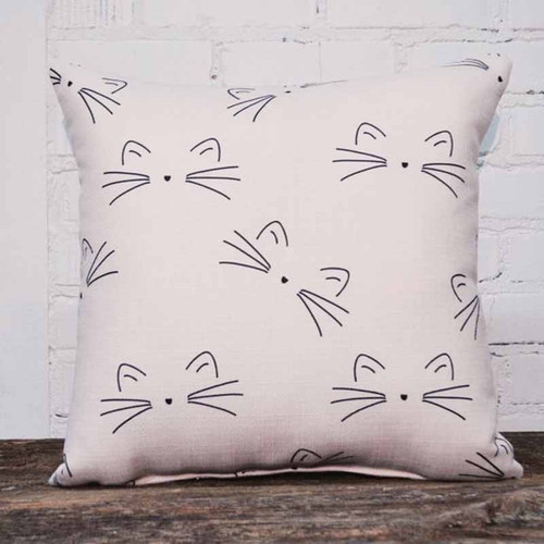 The Little Birdie, Sketchy Cats throw pillow