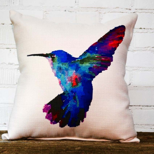 The Little Birdie, Hummingbird, colorful blue hummingbird in flight decorative throw pillow