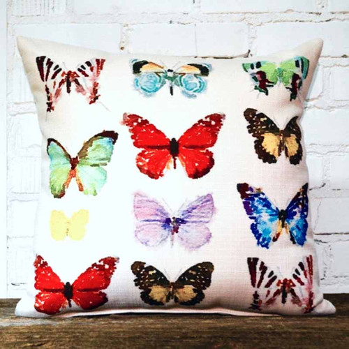 The Little Birdie, Watercolor Butterfly throw pillow, colorful display of 12 butterflies