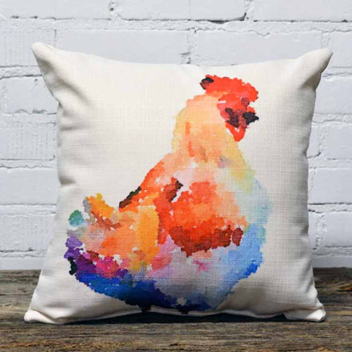 The Little Birdie, Watercolor Chicken, throw pillow, 16 inches square, chicken in bright colors