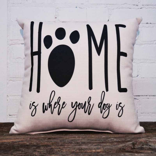 The Little Birdie, Home is Where Your Dog Is, throw pillow