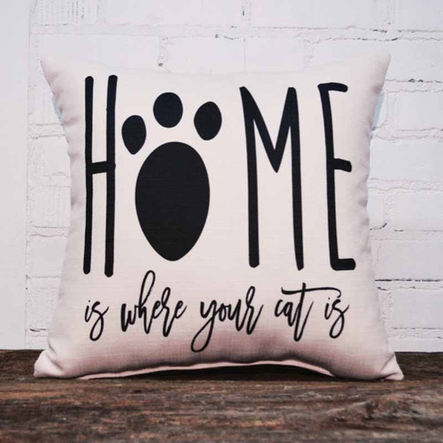 The Little Birdie, Home is Where your Cat is, throw pillow