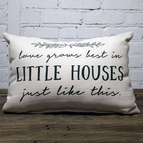 The Little Birdie, Love Grows Best in Little Houses, just like this, throw pillow