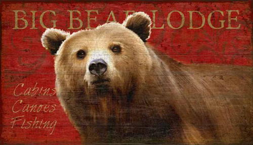 Red Horse Signs, Big Bear Lodge, vintage art on wood, artist Suzanne Nicoll, wood panels are made from tongue and groove slats of hemlock, fir, or alder