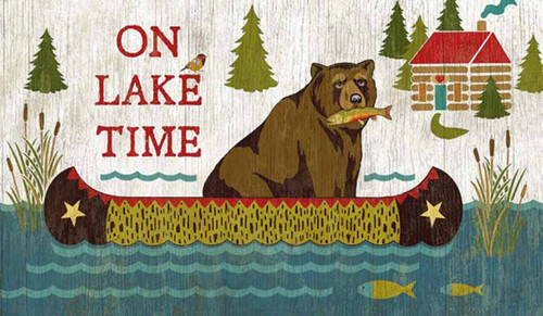 Red Horse Signs, On Lake Time, vintage art,  bear with fish in his mouth, floating in a canoe