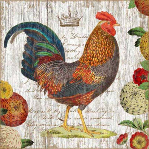 Red Horse Signs, Rooster Blue, vintage art, colorful chicken print on distressed wood, white background and flowers, artist Suzanne Nicoll, wood panels are tongue and groove slats of hemlock, fir, or alder