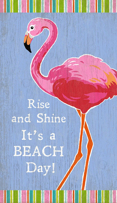 Red Horse Signs, Rise and Shine, Flamingo, vintage art on wood panels, made from hemlock, fir, or alder tongue and groove slats, artist Suzanne Nicoll. Colorful standing pink flamingo reminds us it is a beach day at the lake