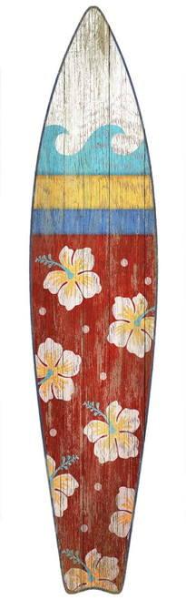 "Red Horse Signs, Surfboard Red, overly cool vintage art poster in reds capped by a white wave, and decorated with hibiscus flowers is by artist Suzanne Nicoll and applied directly to a wood panel and then cut out. ""Hang ten, my friend!"""
