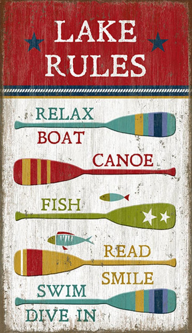 Lake Rules, Red Horse Signs, vintage art on wood panels that have knots and natural imperfections, Artist Suzanne Nicoll, multiple colorful canoe paddles highlight the rules of the lake