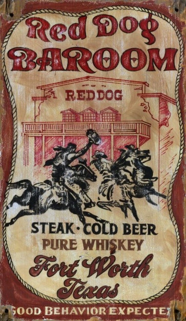 Red Dog Ballroom, Red Horse Signs, vintage art, on distressed wood panel that has knots and natural imperfections, Features saloon and cowboys on horses, hootin' and hollerin