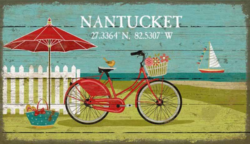 Beach Bike, Red Horse Signs, vintage art, artist Suzanne Nicoll, image of a bicycle, umbrella and fence on the beach printed on a distressed wood panel with occasional knots and other natural characteristics