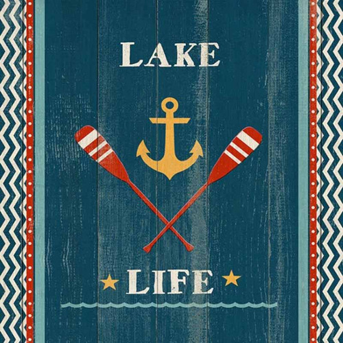 Lake Life, Red Horse Signs, vintage art, blue background, crossed red paddles, and yellow anchor, on distressed wood panels with occasional knots and other natural characteristics. The panels are made from tongue and groove slats of hemlock, fir, or alder. Artist Susan Nicoll