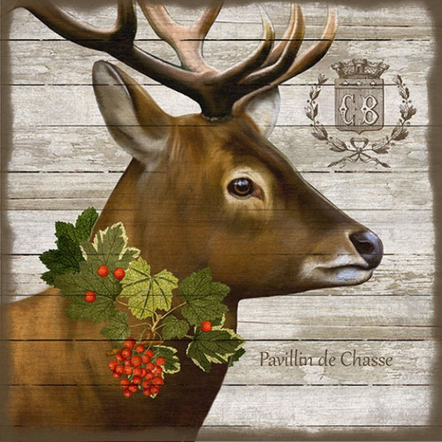 French Lodge Deer, Red Horse Signs, vintage art, artist Suzanne Nicoll, deer with antler on rustic wood panels with occasional knots and other natural characteristics.