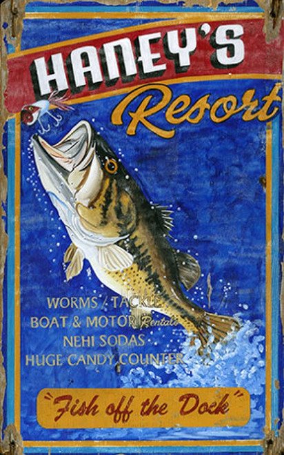 Haney's Resort, Red Horse Signs, vintage art, bass fish jumping out of the water to strike a lure, printed on distressed wood panel that has knots and other natural imperfections